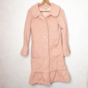 Anthropologie 6 Wool Ruffled Pink Buttons Peacoat